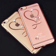 iphone 6 Case Ultra Thin Clean Soft TPU Crystal Phone Cases Rose Gold Plating Glitter Diamond Cover For iphone 6 6S 6 Plus