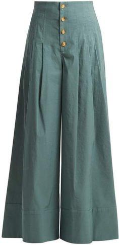 Sea Bernadette High Rise Wide Leg Trousers - Womens - Khaki Button trousers outfit ideas for women. Plazzo Pants, Salwar Pants, Fashion Pants, Hijab Fashion, Fashion Dresses, Emo Fashion, Muslim Fashion, Lolita Fashion, Fashion Watches