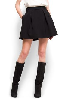 Black a line skirt Falda Negra Plisada 9e55c76377c8