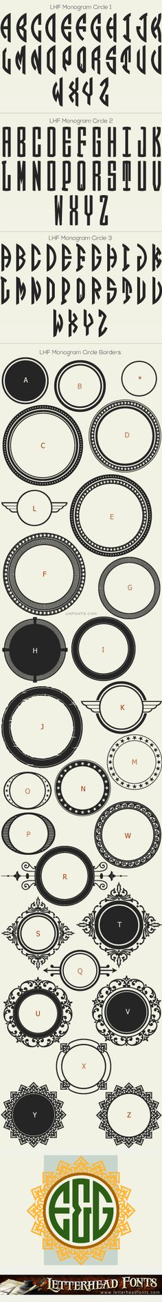 Letterhead Fonts / LHF Monogram Circle font set / Monogram Fonts