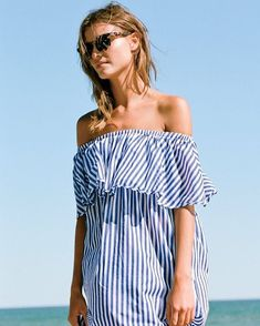 **** Get beautiful looks like this one today from Stitch Fix delivered right to your door! Loving this blue and white striped off the shoulder dress. Perfect for the beach and hot Summer days! Stitch Fix Spring, Stitch Fix Summer, Stitch Fix Fall 2016 2 Beachwear For Women, Women Swimsuits, France Outfits, Summer Outfits, Summer Dresses, Beach Outfits, Fashion Beauty, Womens Fashion, Holiday Fashion