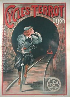 Poster advertising the Terrot Cycles, in Dijon, Painting by Plouzeau. Velo Vintage, Vintage Cycles, Vintage Bikes, Vintage Ads, Tricycle, Art Deco Paintings, Oil Paintings, Bike Poster, Retro Advertising