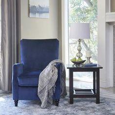 ProLounger Navy Blue Velvet Push Back Recliner Chair