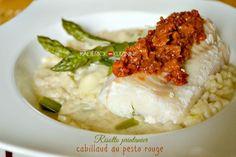 Recette risotto - Risotto moelleux printanier aux asperges vertes et fromage servi avec du cabillaud à  la vapeur et son pesto rosso'home made💜💜💜