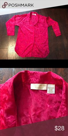 Victoria Secret Red night shirt Small Victoria Secret Small Red long sleeved button down sleep shirt Victoria's Secret Intimates & Sleepwear Chemises & Slips