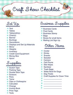 craft sale items Free Printable- Craft Show Checklist Craft Fair Displays, Craft Show Booths, Vendor Displays, Market Displays, Craft Show Ideas, Vendor Booth, Display Ideas, Booth Ideas, Craft Fair Ideas To Sell