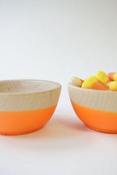 Wooden Mini Bowl Set of Two: Neon Orange. Halloween Decor. $16.00, via Etsy.