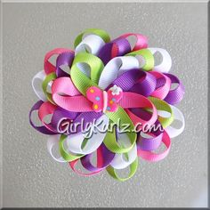 Tinkerbell Butterfly Loopy Flower Hair Bow Loopy Bow by GirlyKurlz