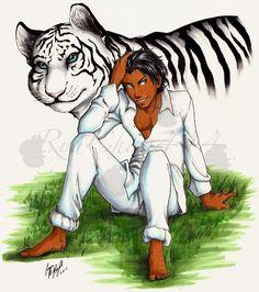 fan made pic of Ren as a man & as a tiger. its by  Laura Ann Boyll