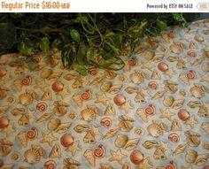 ON SALE Table Runner Seashells on Light Blue by MakeMeOver on Etsy