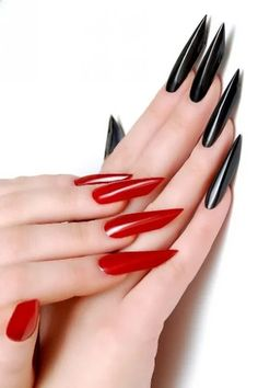 Red Acrylic nails are the ultimate chameleon. Red has so many different nail designs. It can be both traditional and trendy, innocent and dangerou Acrylic Nail Shapes, Almond Acrylic Nails, Acrylic Nail Designs, Red Black Nails, Square Oval Nails, Edge Nails, Long Nail Art, Elegant Nails, Hot Nails