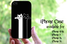 black and white cat design hard case for iPhone 4 by MilkyWayCases, $14.50