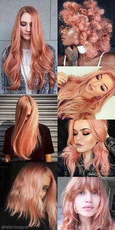 Blorange Hair A cor de cabelo que vai dominar em 2017 Blorange Hair, Dye My Hair, Cabelo Rose Gold, Peach Hair Colors, Hair Colour, Pink Ombre Hair, Peachy Pink Hair, Curly Hair Styles, Natural Hair Styles