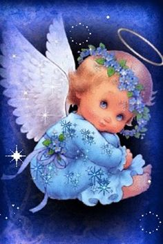 Ruth Morehead - Angel in violet blue Christmas Angels, Christmas Art, Vintage Christmas, Xmas, Angel Images, Angel Pictures, Baby Engel, I Believe In Angels, Purple Baby