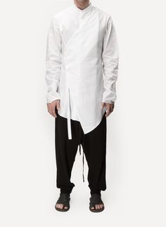 LOST & FOUND BY RIA DUNN  10.227.127 VESTED COLLARLESS SHIRT  Silicon Cotton, 100% Cotton  WHITE