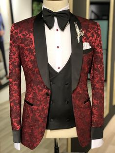 Product: Slim-Fit Tuxedo Color Code: Claret Red Available Size: Suit Material: viscose, polyester Machine Washable: No Fitting: Slim-Fit Cutting: Double Slits, Single Butto Package Include: Suit Clothes: Jacket, Vest and Pants Tuxedo Colors, Red Tuxedo, Tuxedo Suit, Tuxedo For Men, Formal Tuxedo, Groom Tuxedo Wedding, Wedding Suits, Wedding Tuxedos, Wedding Poses