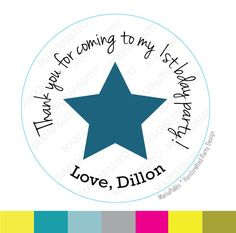 New to Mariapalito on Etsy: Star Custom Stickers Thanks for coming to my Birthday Party. Custom Party PRINTED round Stickers tags Labels or Envelope Seals A979 (5.50 USD)