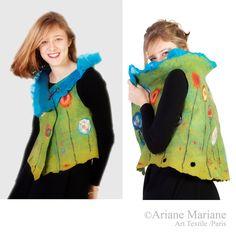 Wearable Art Women Felt Vest, Reversible Textile Art Garment, Cock Flowers Multicolor