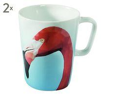 Set di 2 mug in porcellana Premium Exotic Birds Flamingo, 300 ml