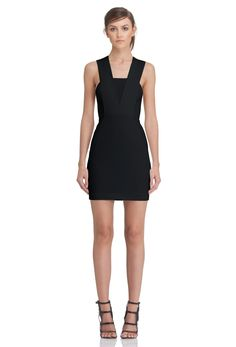 Image 3 of AQ/AQ Zeta Fitted Mini Dress with Panelled Top and Cut Away Sides · Black ·