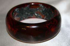 Dark Red reverse carved Bakelite