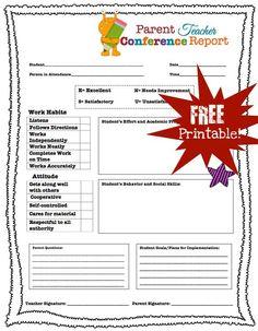 Parent Teacher Conference Printables | Parent Teacher Conference Forms {Free Printables} | Living Laughing ...