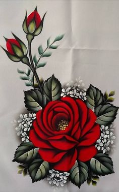 The image may contain: plant and flower - Painting Tole Painting, Fabric Painting, Machine Embroidery Designs, Embroidery Patterns, Pinterest Pinturas, Fabric Paint Designs, Flower Wallpaper, Flower Designs, Flower Art