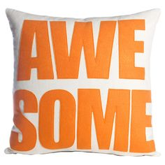 Alexandra Ferguson Bring a pop of style to your sofa or favorite reading nook with this eco-friendly felt pillow, featuring an eye-catching typographic motif. Modern Throw Pillows, Outdoor Throw Pillows, Accent Pillows, Baby Pillows, Kids Pillows, Applique Pillows, Felt Applique, Applique Ideas, Felt Pillow