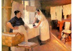 'The Laundress' working hard ironing. The painting by Albert Edelfelt Finnish) Swedish speaking parents Vincent Van Gogh, Mary Cassatt, Hermitage Museum, Chur, Working Woman, Working Hard, Henri Matisse, Monet, Les Oeuvres