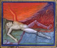 """""""Late medieval illustration of the four humors and the human body. The flames that devour the man's leg in the upper right section are the choleric or angry part. The Human Body, Medieval Life, Medieval Art, Le Mans, 4 Elements, Garden Of Earthly Delights, St Margaret, Book Of Hours, Prayer Book"""