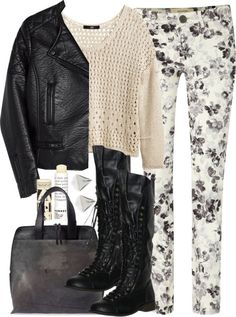 H M long sleeve shirt, $25 / H M quilted jacket, $58 / Weekend Max Mara white jeans, $95 / Flat boots, $50 / Simona Tagliaferri leather handbag, $1,935 / River Island stud earrings, $4.98 / Korres lip treatment, $13