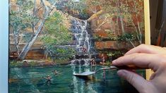 Swimming Hole Gorge - How to - Oil Painting - Palette Knife Oil Painting App, Oil Painting Pictures, Oil Painting Techniques, Painting Videos, Artist Painting, Painting Canvas, Painting Tutorials, Painting Tips, Palette Knife Painting