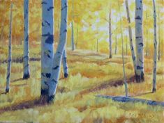 Aspens In Fall - Happy Couples by Rod McAuley Oil ~ 9 x 12