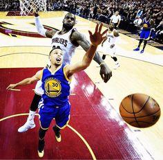 LeBron James' Cavaliers beat Stephen Curry's Warriors NBA Finals Lebron James, Magic Johnson, Stephen Curry, Ayesha And Steph Curry, Cleveland, Nba Finals Game, Nba Championships, Pro Basketball, Game 7