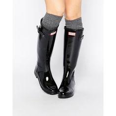 Hunter Original Refined Black Gloss Tall Wellington Boots (605 QAR) ❤ liked on Polyvore featuring shoes, boots, black, rain boots, hunter boots, buckle boots, black slip on boots and black boots