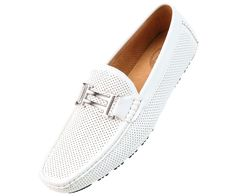 Amali Men's White Driving Perforated Moccasin Loafer Style 1052 White-007 #Amali #Loafer
