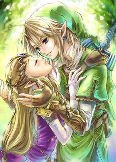 Link and Zelda (who looks like she's swooning. :3) - Legend of Zelda