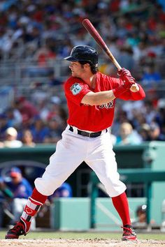 Andrew Benintendi of the Boston Red Sox bats during a Grapefruit League spring training game against the New York Mets at Fenway South on February Minnesota Twins Baseball, Red Sox Baseball, Baseball Socks, Chicago White Sox, Boston Red Sox, Champion Socks, Andrew Benintendi, Red Sox Nation, Buster Posey