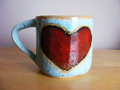 Mini red heart mug by karinfindell on Etsy, £7.00