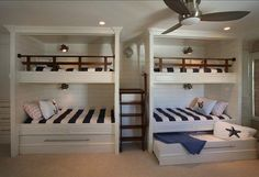 Kids bedroom or playroom with their friends if ever they have a slumber party at your home. 4 beds in 1 bedroom. So efficient! Also with a nautical concept and pull out beds so it could be 6 beds in 1 bedroom if you like.
