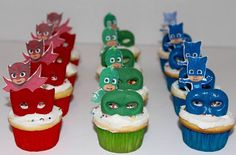 Superheros Gekko, Catboy & Owelette www. Pjmask Party, Baby Party, Party Time, Party Ideas, 4th Birthday Parties, 3rd Birthday, Birthday Ideas, Pj Mask Cupcakes, Mini Cupcakes