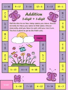 SPRING Math Game Addition 2 digit plus 1 digit by Mizell Multiage Fun Classroom Activities, Math Classroom, Math Stations, Math Centers, First Grade Math, Grade 2, Second Grade, Teaching Math, Teaching Ideas