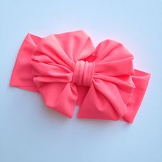Neon Coral Messy Bow Headwrap by rubyblueinc on Etsy, $14.99