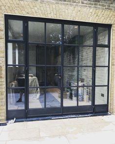 Kitchen Patio Doors, Modern Patio Doors, Open Plan Kitchen Living Room, Bifold Doors Onto Patio, Aluminium French Doors, Crittal Doors, London Brick, Crittall, External Doors