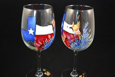 Check out my latest wine glass design!  Texas Bluebonnet Wine Glasses pair by Love2PaintDesigns on Etsy, $32.00