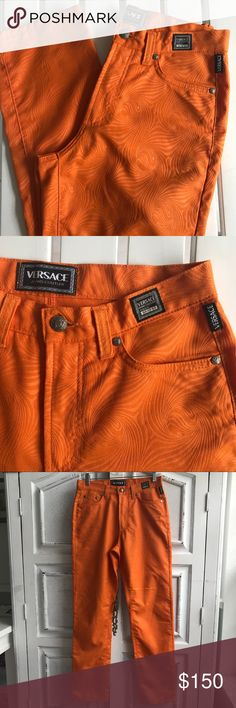 "VINTAGE VERSACE JEANS Super Sweet 100% polyester orange swirl pattern VERSACE COUTURE JEANS. Make your statement in these 💜 Unique n high waist. Great w/your fav crop top! 29""waist, 30"" inseam. Versace Jeans Collection Jeans"