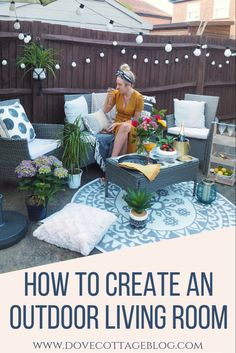 How to create an outdoor living room in your garden using budget decor. Festoon lights to create a cosy atmosphere outside and cushions and throws to add texture. Backyard style and design to create a beautiful outdoor patio seating area Small Patio Ideas On A Budget, Garden Design Ideas On A Budget, Patio Decorating Ideas On A Budget, Budget Patio, Cosy Garden Ideas, Outside Seating Area, Outdoor Seating Areas, Patio Seating, Outdoor Rooms