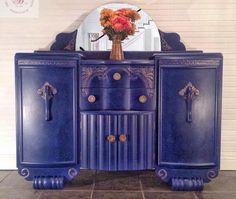 Vintage/ Art Deco Blue And Bronze Sideboard, Storage unit,dresser Art Deco Furniture, Vintage Furniture, Cool Furniture, Painted Furniture, Furniture Design, Furniture Ideas, Bespoke Furniture, Repurposed Furniture, Rustic Furniture