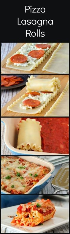 Pizza lasagna rolls. Im going to substitute vegetables for pepperoni! Yummy!