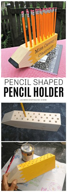 DIY Pencil Shaped Pencil Holder – Jaime Costiglio A DIY tutorial to make a pencil shaped pencil holder. Great teacher gift the whole class can enjoy or perfect for home with plenty of storage. Great Teacher Gifts, Teacher Appreciation Gifts, Diy Organizer, Wood Gifts, School Gifts, Diy Crafts To Sell, Sell Diy, Diy Wood Crafts, Diy Tutorial